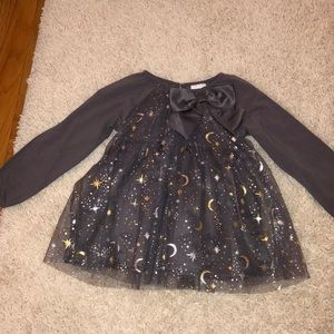 NWTs gray Dress with moon and stars metallic